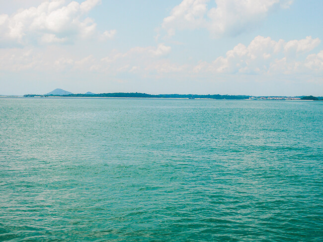 Beautiful boat ride to the outer islands off the coast of Singapore