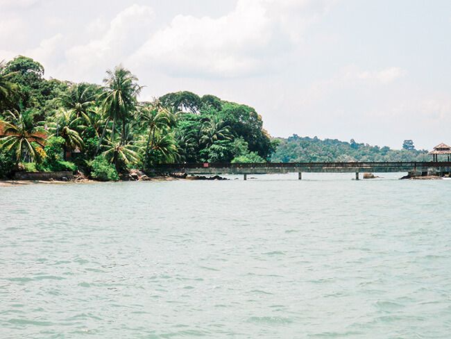 view from the bumboat as we arrive on the island of Pulau Ubin off the coast of Singapore