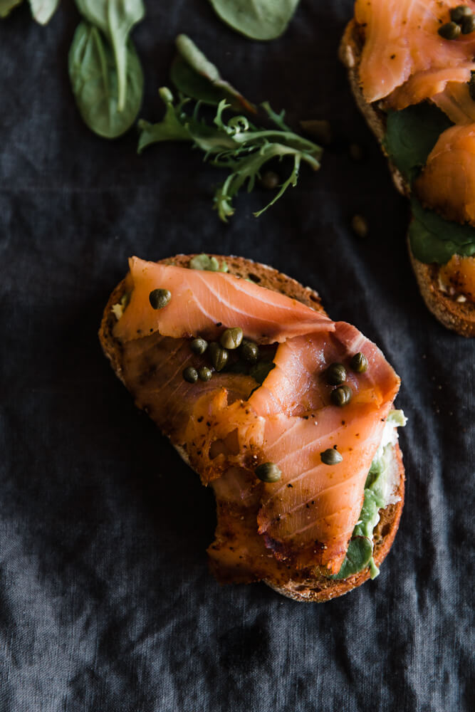 Easy salmon open faced sandwich for a quick lunch